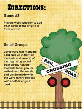Word Families Train Game {Literacy Station Activity}
