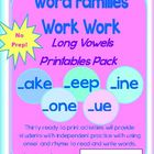Word Families Word Work Long Vowels Pack CCSS No Prep! K