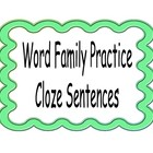 Word Family Cloze Sentences