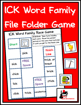 Word Family File Folder Game - ICK Family