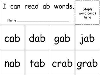 Word Family Flip Books for Kindergarten- Short Vowels