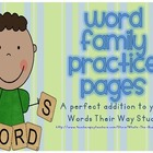 Word Family Practice Pages for Alphabetic Spellers