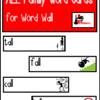 Word Family Word Wall Cards for ALL Family with Pictures
