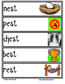 Word Family Word Wall Cards for EST Family with Pictures