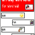 Word Family Word Wall Cards for UN Family with Pictures