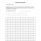 Word Find Puzzle Template