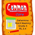 Word Meaning Activity Cards Grade 3 Common Core RL.3.4