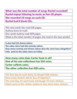 Word Problems Addition Test Prep