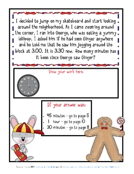 Word Problems-Mini-Math Mystery-Jogging Gingerbread-Grade