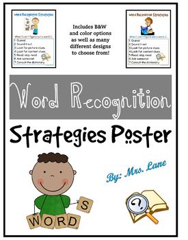 Word Recognition Poster for Elementary Students