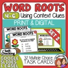 Word Root Task Cards: 32 Multiple Choice Cards Using Conte