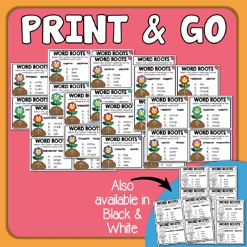 Word Root Task Cards: 32 Multiple Choice Cards Using Word Pairs