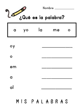 Word Scramble / Palabras Enredadas (Spanish High Frequency