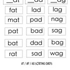 Word Study Packet -at / -ad / -ag sort