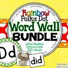 Word Wall BUNDLE {Polka Dot Rainbow} with Headers, Picture