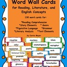 Word Wall Cards for Reading, Literature, and English Concepts