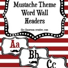 Word Wall Headers: Mustache Theme