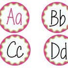 Word Wall Letter Labels  (Pink and Green Round)