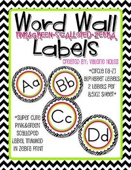 Word Wall Letter Round Labels: Pink & Green Scalloped Zebra Print