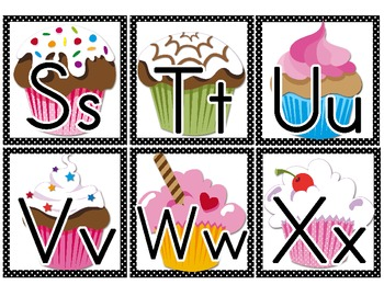 Word Wall Letter Small Labels: Cupcake Themed