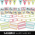Word Wall Letters and Pennant Banner in BRIGHT Chevron and