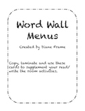 Word Wall Menus
