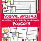 Word Wall Wonder Pack - Popcorn - Writing Reading Activities