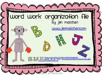 Word Work Organizer