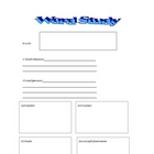 Word study worksheet