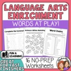 Words at Play - Fun Language Arts Worksheets! Puzzles, Games +