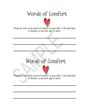 Words of comfort-Back to School-Open House