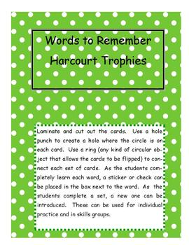 Words to Remember - Harcourt Trophies Series - First Grade