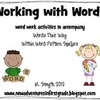 Working with Words- a Words Their Way Suppliment featuring