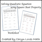 Worksheet: Solving Quadratic Equations using Square Root Method