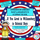 "Colonial Life Worksheets & Keys: ""If You Lived in WILLIAMS"