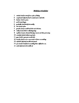 Workshop 3 Vocabulary List