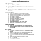 Workshop Essentials - Comprehension Monitoring