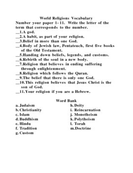 World History II Vocabulary Quiz:  World Religions