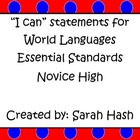World Language Essential Standards Novice High &quot;I Can&quot; Sta