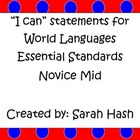 "World Language Essential Standards Novice Mid ""I Can"" Stat"