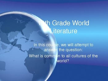 World Literature Introductory PowerPoint