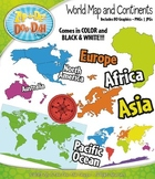 World Map and Continents Clipart — Includes 80 Graphics!