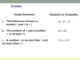 Write Equations and Inequalities