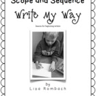 Write My Way lessons for beginning writers Scope & Sequence FREE