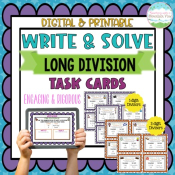 Write & Solve Long Division Task Cards for Enrichment & Cr