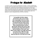 Write a Prologue for Macbeth