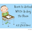 Write and Say the Room: Back to School