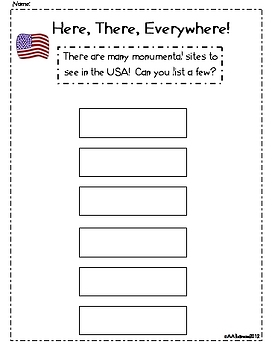 Write the Room Literacy Center Student Activities - America