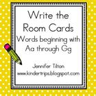 Write the Room Picture &amp; Word Cards for letters Aa through Gg