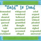"Writing Anchor Chart  ""Said is Dead"" Poster"